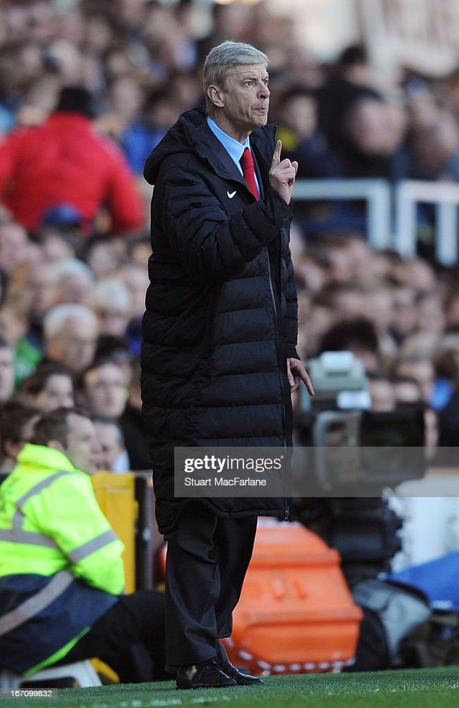 Arsenal manager <a gi-track='captionPersonalityLinkClicked' href=/galleries/search?phrase=Arsene+Wenger&family=editorial&specificpeople=171184 ng-click='$event.stopPropagation()'>Arsene Wenger</a> during the Barclays Premier League match between Fulham and Arsenal at Craven Cottage on April 20, 2013 in London, England.