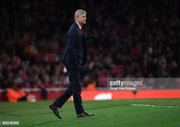 Arsenal manager Arsene Wenger during the Carabao Cup Third Round match between Arsenal and Doncaster Rovers at Emirates Stadium on September 19 2017...