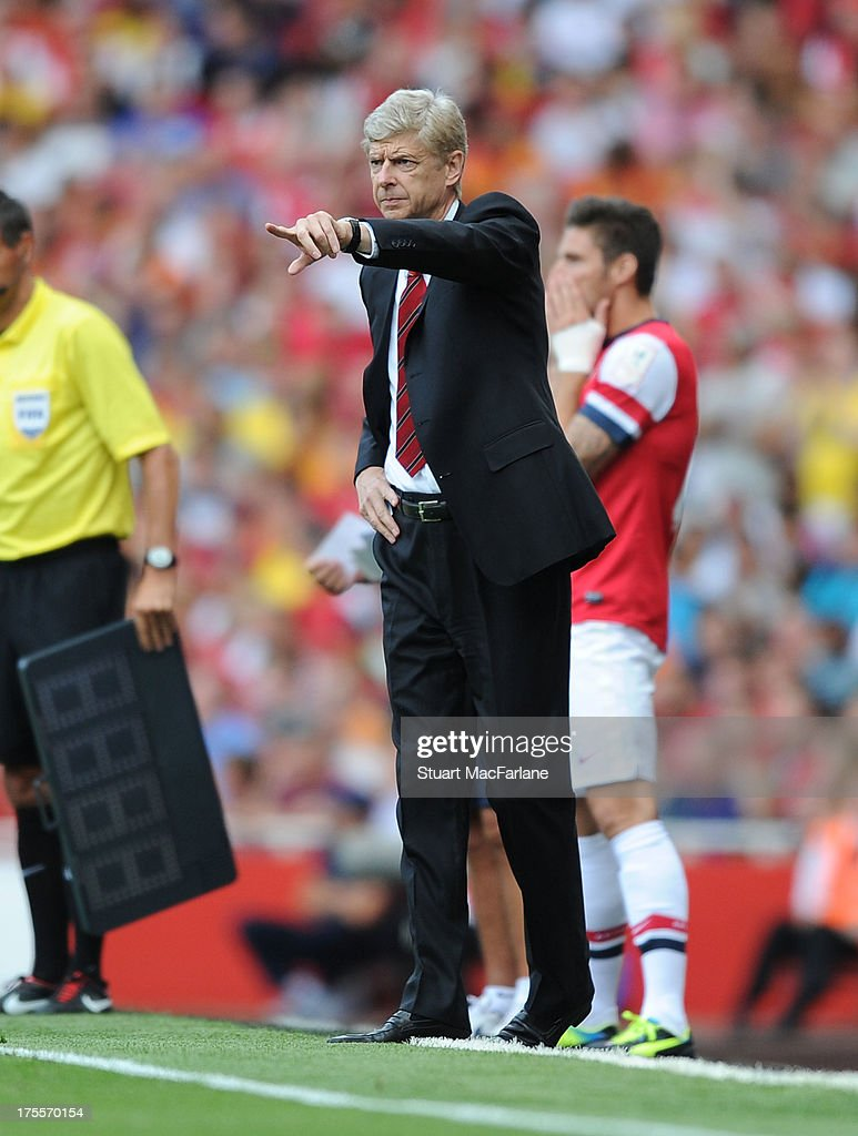 Arsenal manager <a gi-track='captionPersonalityLinkClicked' href=/galleries/search?phrase=Arsene+Wenger&family=editorial&specificpeople=171184 ng-click='$event.stopPropagation()'>Arsene Wenger</a> during the Emirates Cup match between Arsenal and Galatasaray at the Emirates Stadium on August 04, 2013 in London, England.