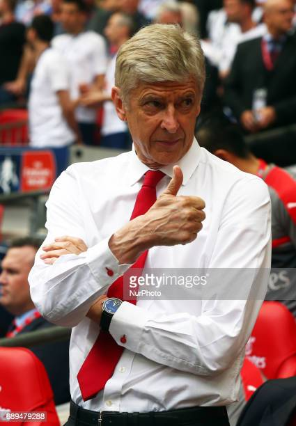 Arsenal manager Arsene Wenger during The Emirates FA Cup Final between Arsenal against Chelsea at Wembley Stadium on May 27 2017 England