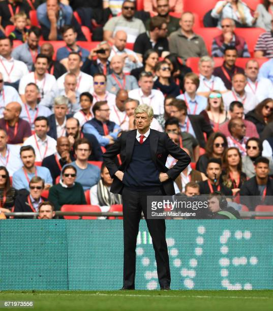 Arsenal manager Arsene Wenger during the Emirates FA Cup SemiFinal match between Arsenal and Manchester City at Wembley Stadium on April 23 2017 in...