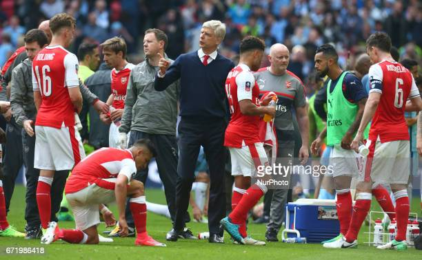 Arsenal manager Arsene Wenger during The Emirates FA Cup SemiFinal match between Arsenal and Manchester City at Wembley Stadium London 23 April 2017