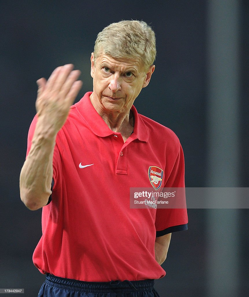 Arsenal manager <a gi-track='captionPersonalityLinkClicked' href=/galleries/search?phrase=Arsene+Wenger&family=editorial&specificpeople=171184 ng-click='$event.stopPropagation()'>Arsene Wenger</a> during the match between Arsenal and the Indonesia All-Stars at Gelora Bung Karno Stadium on July 14, 2013 in Jakarta, Indonesia.