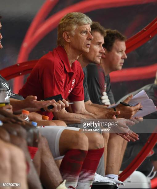 Arsenal manager Arsene Wenger during the pre season friendly between Arsenal and Chelsea at the Birds Nest on July 22 2017 in Beijing