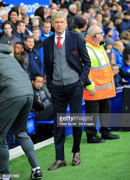 Arsenal manager Arsene Wenger during the Premier League match at the Goodison Park Liverpool