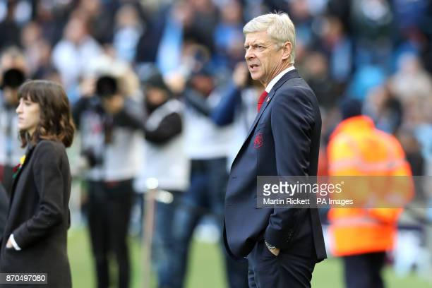 Arsenal manager Arsene Wenger during the Premier League match at the Etihad Stadium Manchester