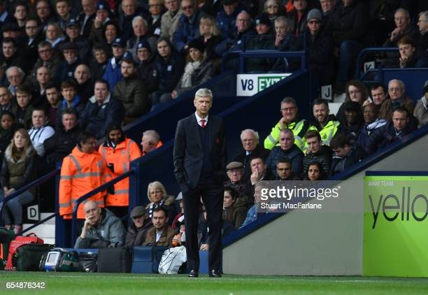 Arsenal manager Arsene Wenger during the Premier League match between West Bromwich Albion and Arsenal at The Hawthorns on March 18 2017 in West...
