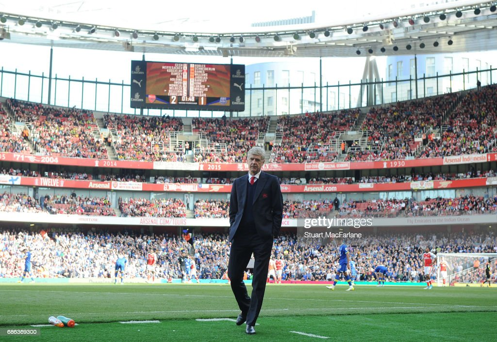 Arsenal manager Arsene Wenger during the Premier League match between Arsenal and Everton at Emirates Stadium on May 21, 2017 in London, England.