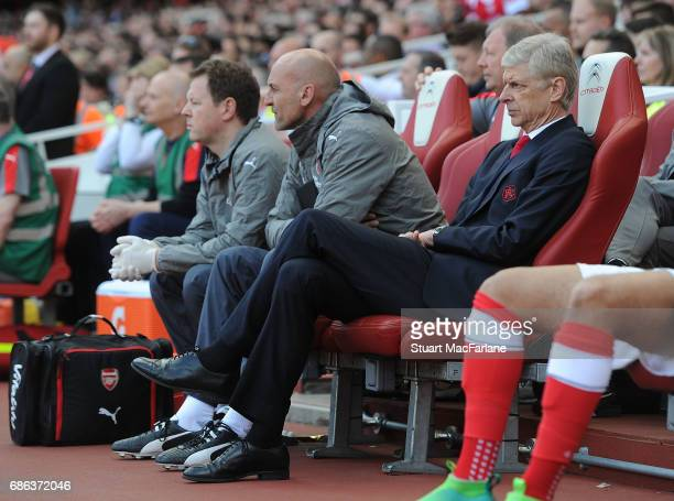 Arsenal manager Arsene Wenger during the Premier League match between Arsenal and Everton at Emirates Stadium on May 21 2017 in London England