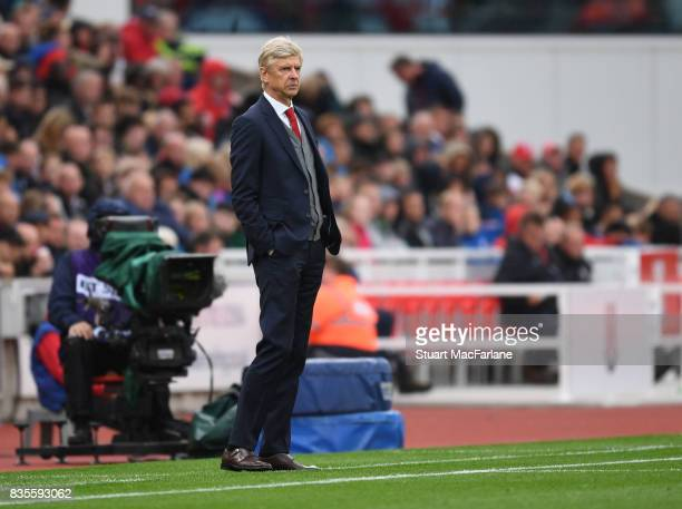 Arsenal manager Arsene Wenger during the Premier League match between Stoke City and Arsenal at Bet365 Stadium on August 19 2017 in Stoke on Trent...