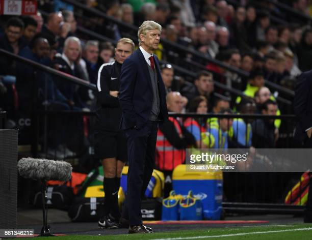 Arsenal manager Arsene Wenger during the Premier League match between Watford and Arsenal at Vicarage Road on October 14 2017 in Watford England