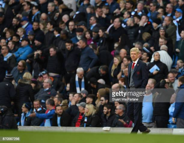 Arsenal manager Arsene Wenger during the Premier League match between Manchester City and Arsenal at Etihad Stadium on November 5 2017 in Manchester...