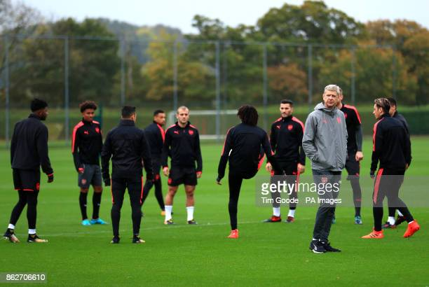Arsenal manager Arsene Wenger during the training session at London Colney London