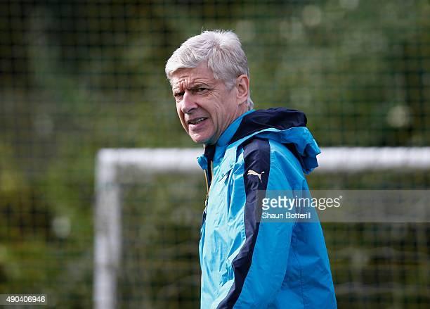 Arsenal manager Arsene Wenger during training at London Colney on September 28 2015 in St Albans England