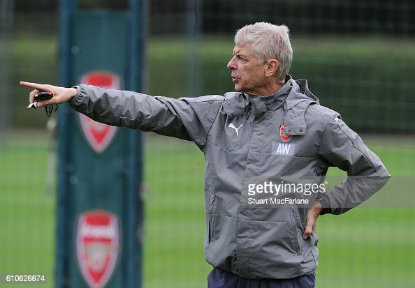 Arsenal manager Arsene Wenger gestures during a training session at London Colney on September 27 2016 in St Albans England
