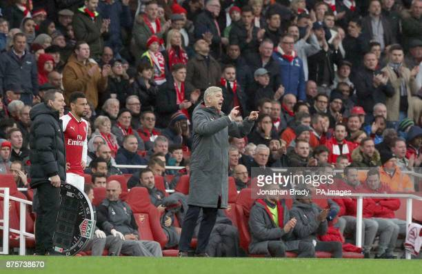 Arsenal manager Arsene Wenger gestures on the touchline as Francis Coquelin prepares to come on during the Premier League match at the Emirates...