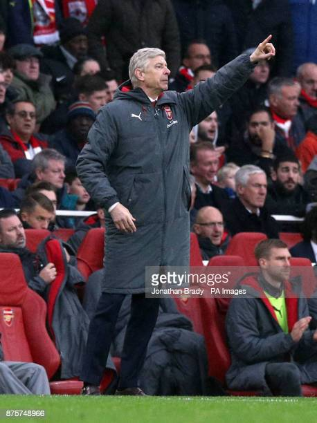 Arsenal manager Arsene Wenger gestures on the touchline during the Premier League match at the Emirates Stadium London
