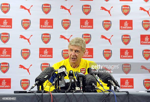 Arsenal manager Arsene Wenger holds a press conference before a training session at London Colney on August 15 2014 in St Albans England
