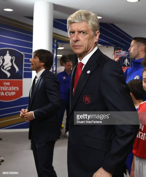 Arsenal manager Arsene Wenger in the tunnel before the Emirates FA Cup Final between Arsenal and Chelsea at Wembley Stadium on May 27 2017 in London...