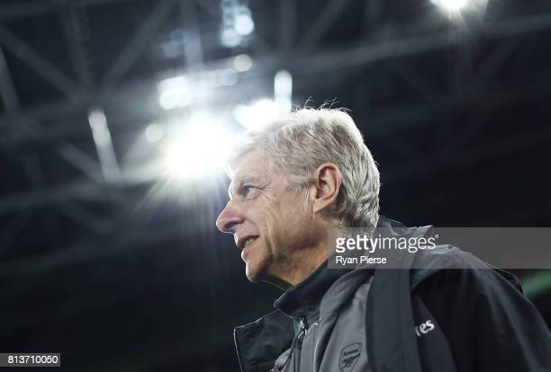 Arsenal manager Arsene Wenger looks on before the match between Sydney FC and Arsenal FC at ANZ Stadium on July 13 2017 in Sydney Australia