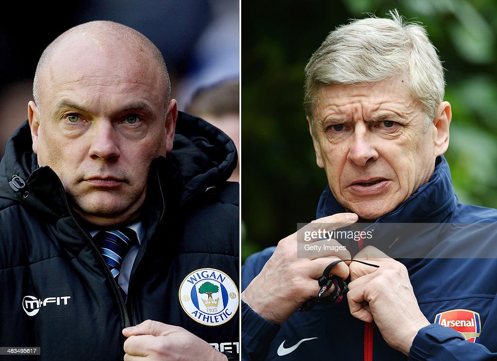 IMAGES - Image Numbers 460527551 (L) and 477574919) In this composite image a comparison has been made between Arsene Wenger (R) the Manager of Arsenal and Uwe Rosler ,Wigan manager prior to the FA Cup Semi Final between Arsenal and Wigan Athletic on March 12, 2014 at Wembley Stadium,London. ST ALBANS, ENGLAND - MARCH 10: Arsenal manager Arsene Wenger looks on during the Arsenal training session at London Colney on March 10, 2014 in St Albans, England.