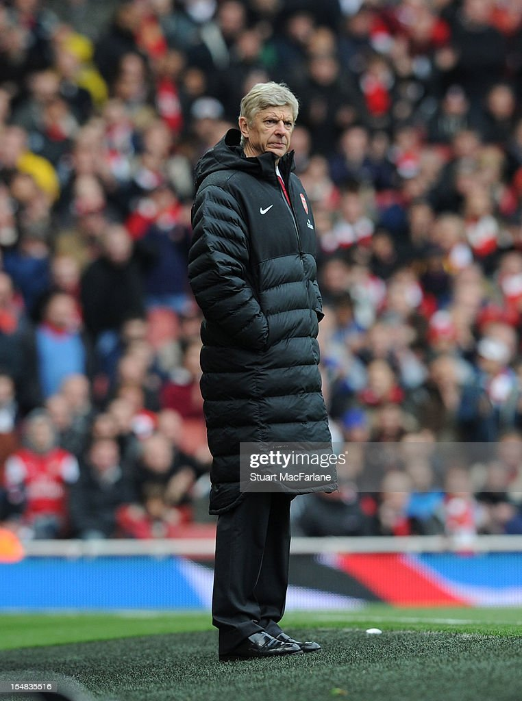 Arsenal manager <a gi-track='captionPersonalityLinkClicked' href=/galleries/search?phrase=Arsene+Wenger&family=editorial&specificpeople=171184 ng-click='$event.stopPropagation()'>Arsene Wenger</a> looks on during the Barclays Premier League match between Arsenal and Queens Park Rangers, at Emirates Stadium on October 27, 2012 in London, England.