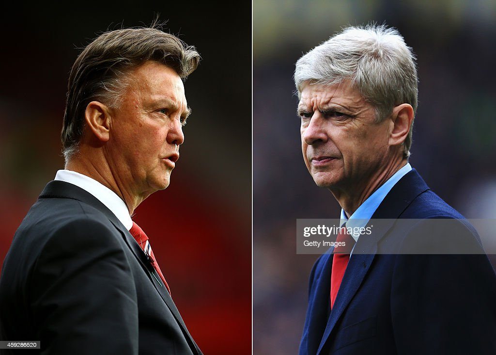 IMAGES - Image numbers (L) 458624178 and 485728065) In this composite image a comparision has been made between Louis van Gaal ,Manager of Manchester United (L) and <a gi-track='captionPersonalityLinkClicked' href=/galleries/search?phrase=Arsene+Wenger&family=editorial&specificpeople=171184 ng-click='$event.stopPropagation()'>Arsene Wenger</a>, Manager of Arsenal . Arsenal and Manchester United meet in the Premier League on November 22, 2014 at the Emirates Stadium in London. HULL, ENGLAND - APRIL 20: Arsenal manager <a gi-track='captionPersonalityLinkClicked' href=/galleries/search?phrase=Arsene+Wenger&family=editorial&specificpeople=171184 ng-click='$event.stopPropagation()'>Arsene Wenger</a> looks on during the Barclays Premier League match between Hull City and Arsenal at KC Stadium on April 20, 2014 in Hull, England.