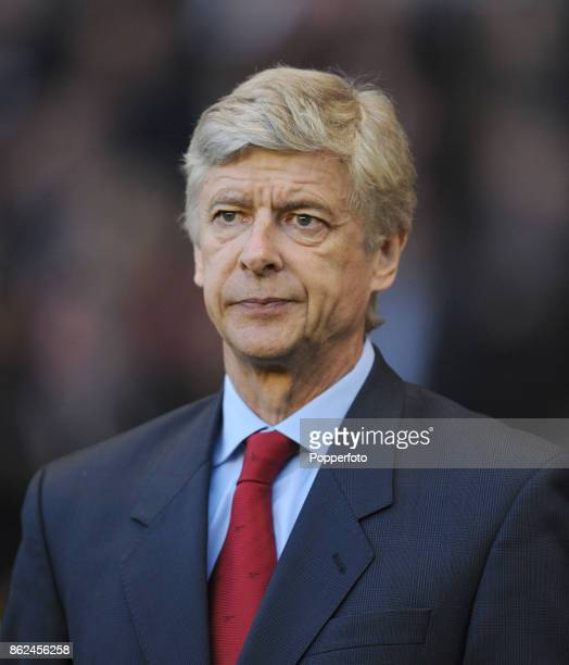 Arsenal manager Arsene Wenger looks on during the Barclays Premier League match between Wolverhampton Wanderers and Arsenal at Molineux on April 11...
