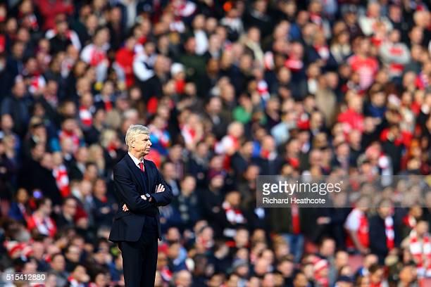 Arsenal manager Arsene Wenger looks on during The Emirates FA Cup Sixth Round match between Arsenal and Watford at the Emirates Stadium on March 13...
