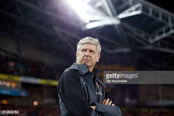 Arsenal manager Arsene Wenger looks on during the match between the Western Sydney Wanderers and Arsenal FC at ANZ Stadium on July 15 2017 in Sydney...