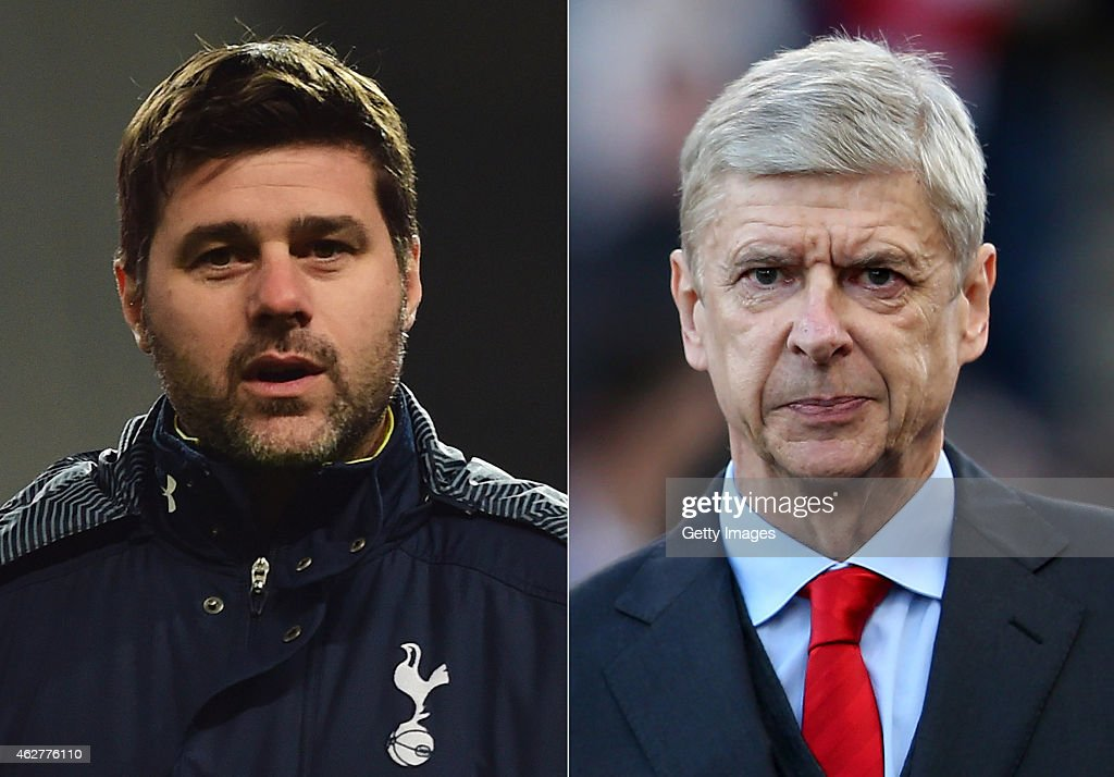 IMAGES - Image numbers (L) 460244366 and 460050132) In this composite image a comparision has been made between <a gi-track='captionPersonalityLinkClicked' href=/galleries/search?phrase=Mauricio+Pochettino&family=editorial&specificpeople=234444 ng-click='$event.stopPropagation()'>Mauricio Pochettino</a>, manager of Tottenham Hotspur (L) and <a gi-track='captionPersonalityLinkClicked' href=/galleries/search?phrase=Arsene+Wenger&family=editorial&specificpeople=171184 ng-click='$event.stopPropagation()'>Arsene Wenger</a>, manager of Arsenal. Tottenham Hotspur and Arsenal play each other in a Premier League match on February 7, 2015 at White Hart Lane in London,England. STOKE ON TRENT, ENGLAND - DECEMBER 06: Arsenal Manager <a gi-track='captionPersonalityLinkClicked' href=/galleries/search?phrase=Arsene+Wenger&family=editorial&specificpeople=171184 ng-click='$event.stopPropagation()'>Arsene Wenger</a> looks on prior to the Barclays Premier League match between Stoke City and Arsenal at the Britannia Stadium on December 6, 2014 in Stoke on Trent, England.