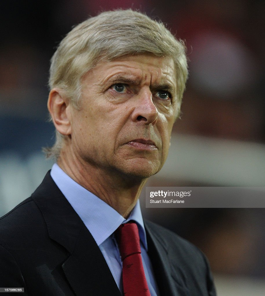 Arsenal manager <a gi-track='captionPersonalityLinkClicked' href=/galleries/search?phrase=Arsene+Wenger&family=editorial&specificpeople=171184 ng-click='$event.stopPropagation()'>Arsene Wenger</a> prior to the UEFA Champions League Group B match between Olympiacos FC and Arsenal FC at Georgios Karaiskakis Stadium on December 04, 2012 in Athens, Greece.