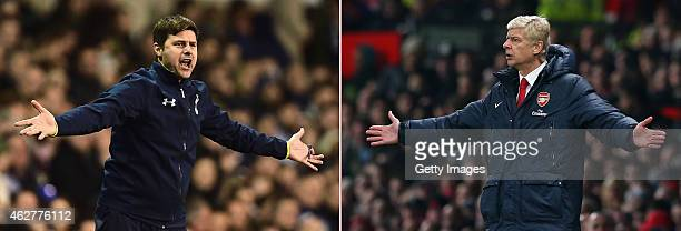 COMPOSITE OF TWO IMAGES Image numbers 460602934 and 187578385 In this composite image a comparision has been made between Mauricio Pochettino manager...