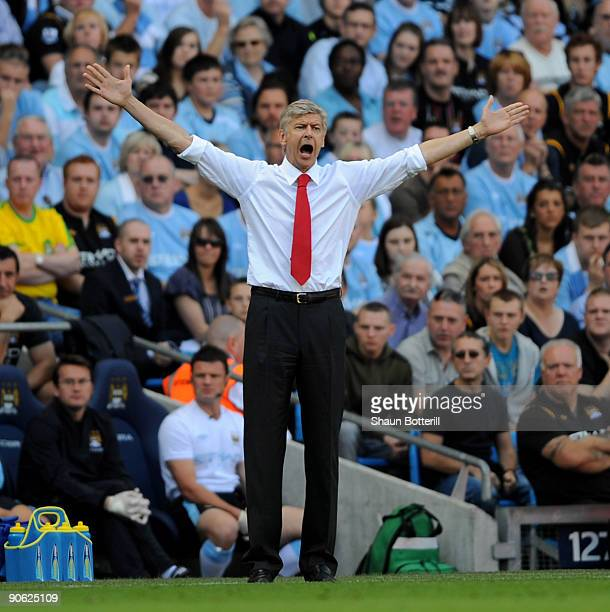 Arsenal manager Arsene Wenger shows his frustration during the Barclays Premier League match between Manchester City and Arsenal at the City of...