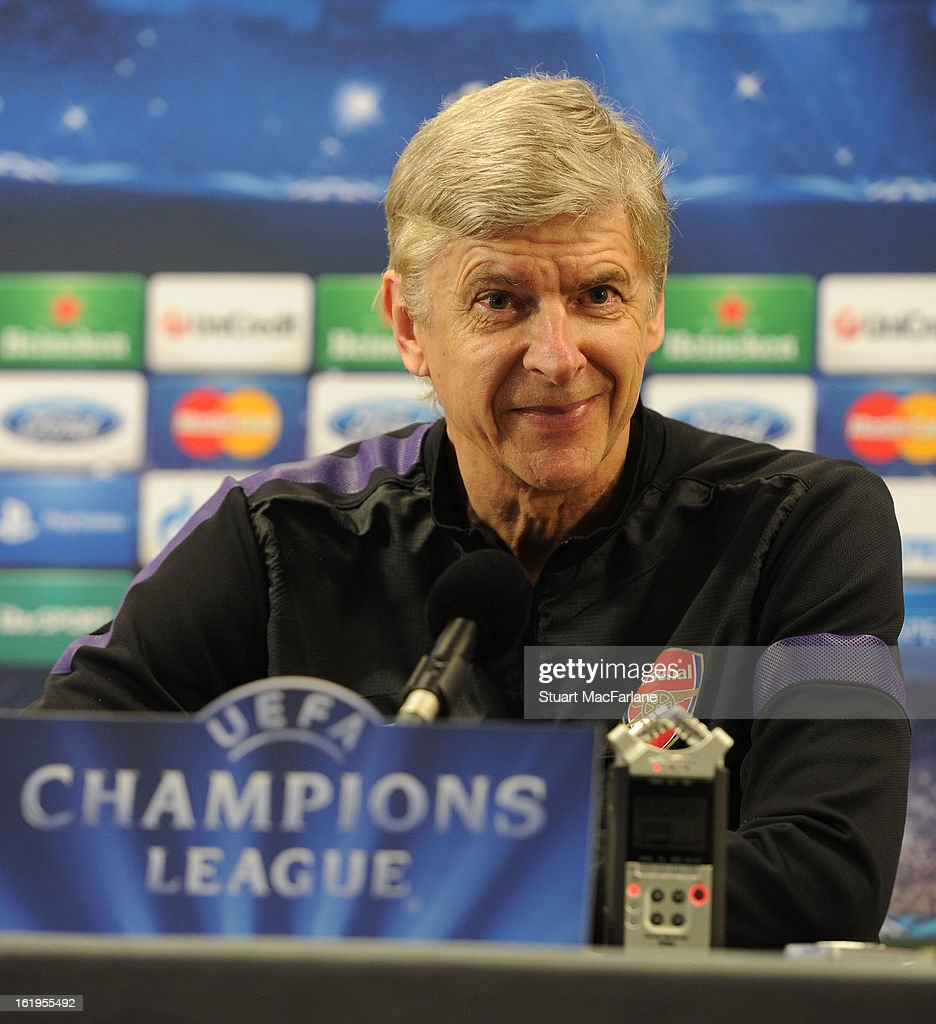 Arsenal manager Arsene Wenger smiles during a press conference ahead of their UEFA Champions League match against FC Bayern Muenchen at London Colney on February 18, 2013 in St Albans, England.