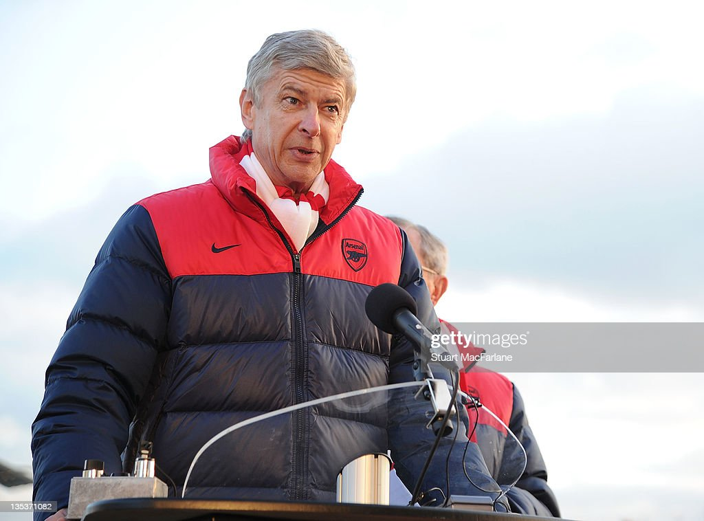 Arsenal manager <a gi-track='captionPersonalityLinkClicked' href=/galleries/search?phrase=Arsene+Wenger&family=editorial&specificpeople=171184 ng-click='$event.stopPropagation()'>Arsene Wenger</a> speaks at the unveiling of three statues of Arsenal legends at Emirates Stadium, one of three iconic statues to be placed at the Emirates Stadium home of Arsenal Football Club, on December 9, 2011 in London, England.