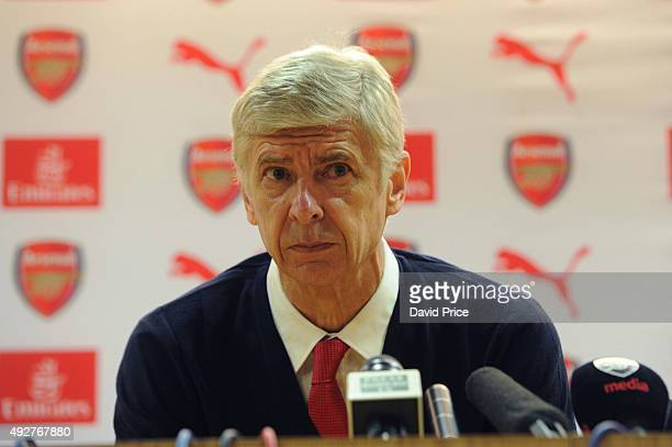 Arsenal Manager Arsene Wenger speaks during a press conference at Emirates Stadium on October 15 2015 in London England