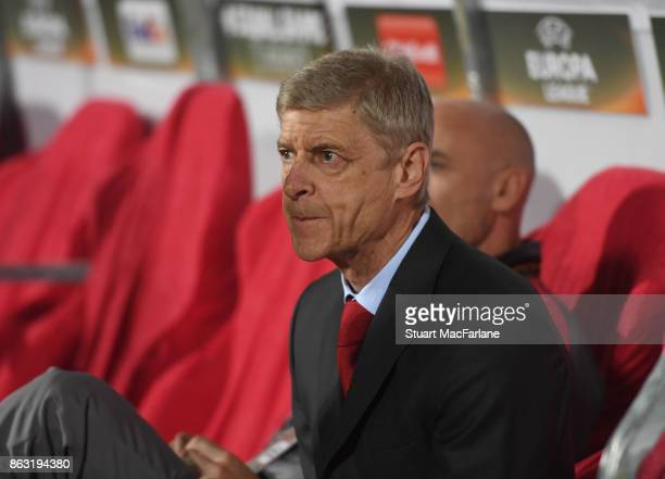 Arsenal manager Arsene Wenger the UEFA Europa League group H match between Crvena Zvezda and Arsenal FC at Rajko Mitic Stadium on October 19 2017 in...