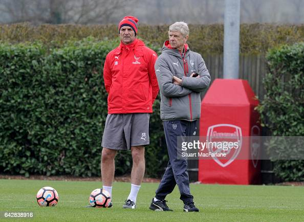 Arsenal manager Arsene Wenger with assistant Steve Bould during a training session on February 19 2017 in St Albans England