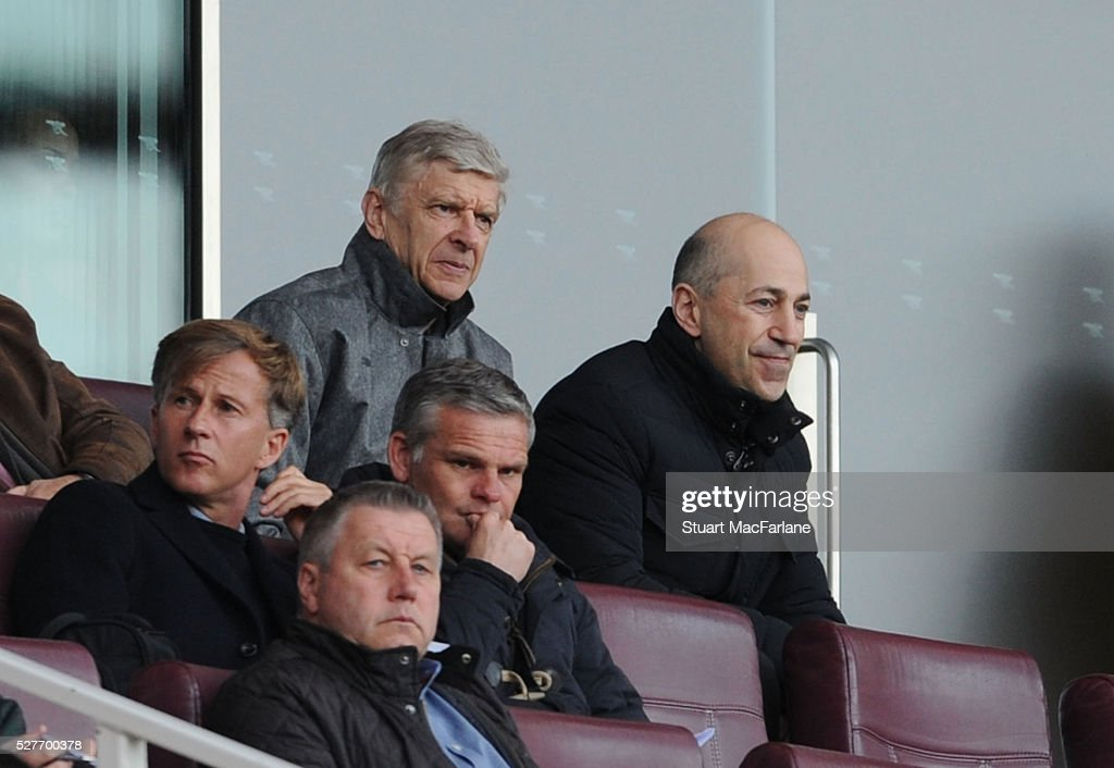 Arsenal manager <a gi-track='captionPersonalityLinkClicked' href=/galleries/search?phrase=Arsene+Wenger&family=editorial&specificpeople=171184 ng-click='$event.stopPropagation()'>Arsene Wenger</a> with CEO Ivan Gazidis during the Barclays U21 Premier League match between Arsenal and Blackburn Rovers at Emirates Stadium on May 3, 2016 in London, England.