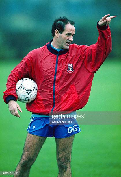 Arsenal manager George Graham makes a point during a training session on November 301992 in London England