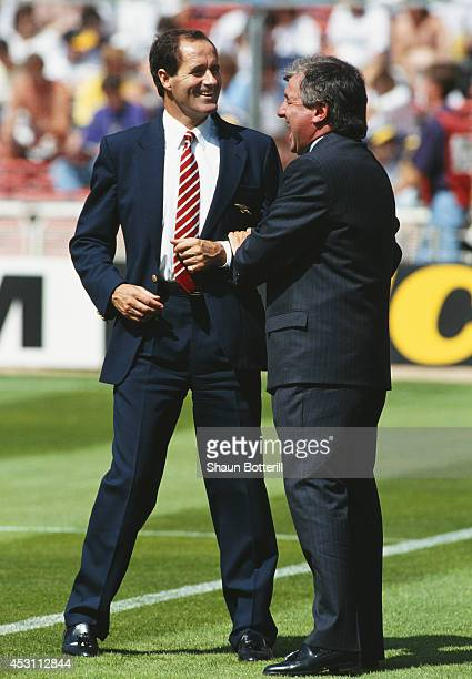 Arsenal manager George Graham shares a joke with Spurs mananger Terry Venables before the FA Charity Shield between Arsenal and Tottenham Hotspur at...