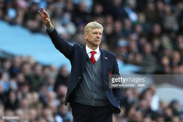 Arsenal Manager / Head Coach Arsene Wenger gestures during the Premier League match between Manchester City and Arsenal at Etihad Stadium on November...