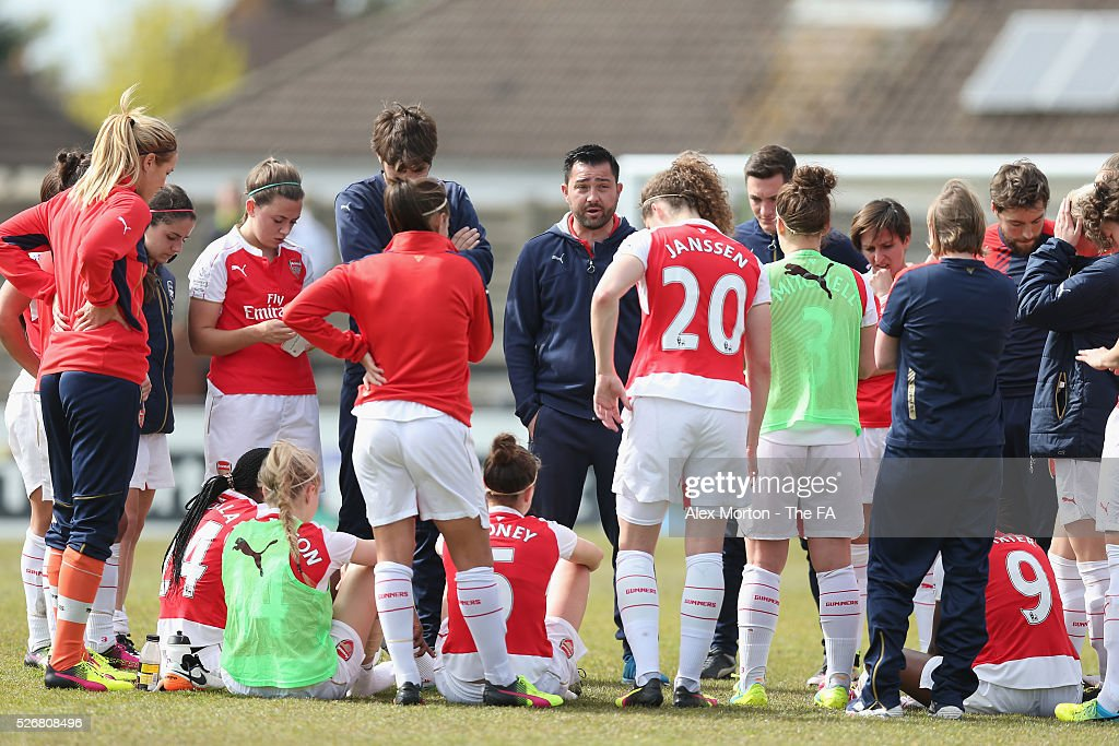 Arsenal manager Pedro Martinez Losa talks to his players at the end of the match during the WSL match between Arsenal Ladies and Birmingham City Ladies at Meadow Park on May 1, 2016 in Borehamwood, England.