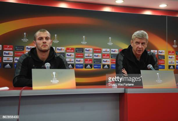Arsenal manger Arsene Wenger and midfielder Jack Wilshere attend a press conference ahead of the UEFA Europa League group H match between Crvena...