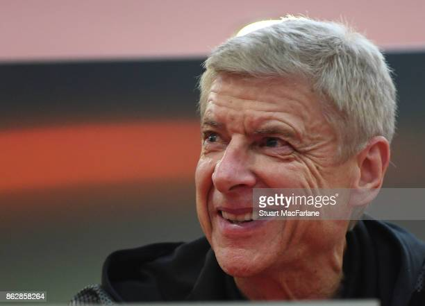Arsenal manger Arsene Wenger attends a Press Conference ahead of the UEFA Europa League group H match between Crvena Zvezda and Arsenal FC at Rajko...