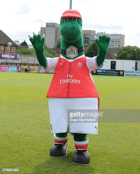 Arsenal mascot Gunnersaurus before the pre season friendly between Borehamwood and Arsenal at Meadow Park on July 16 2016 in Borehamwood England