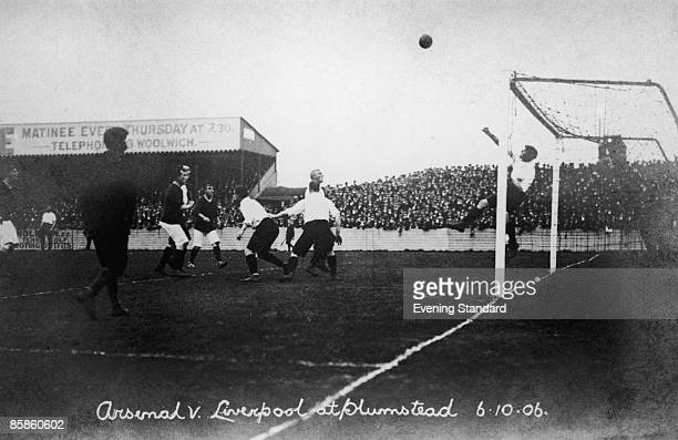 Arsenal play Liverpool at the Manor Ground in Plumstead 6th October 1906 Originally named Woolwich Arsenal after the nearby Royal Arsenal the team...