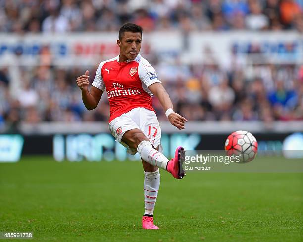 Arsenal player Alexis Sanchez in action during the Barclays Premier League match between Newcastle United and Arsenal on August 29 2015 in Newcastle...