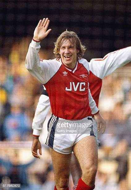 Arsenal player Paul Merson celebrates during their 50 League Division One home win over Norwich City at Highbury on May 11989 in London England